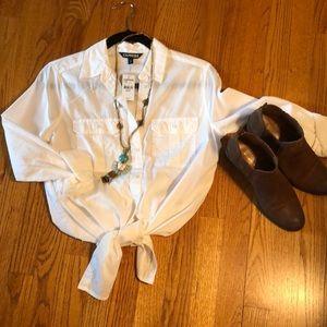Express classic white button down shirt